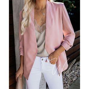 Pink blazer jacket scrunch sleeve 845020